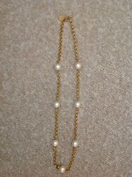 Vintage Gorgeous Anne Klein Long Gold Tone And Large Faux Pearl Necklace