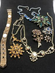 Lot of Vintage Costume Jewelry Rhinestone Collection Lots of Color Ready To go