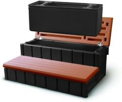 Hot Tub Pool Steps Redwood Spa Storage Outdoor Bin Removable 300 lbs. Capacity $192.65