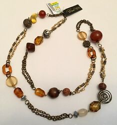 """Birch Hill NWT Brown Amber Gold Glass Wood Acrylic Bead Beaded Long 40"""" Necklace"""