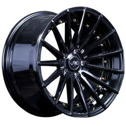 (4)SET NEW JNC WHEELS JNC042 19x8.5 5x114.3 +35 GLOSS BLACKGOLD RIVETS