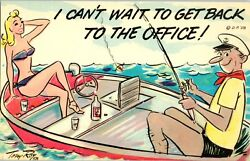 10 lot Can#x27;t Wait get back to the Office Funny VTG #x27;58 Postcard Sexy Bikini Boat $12.34