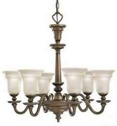 Kitchen Dining Chandelier Bronze Finish Satin Etched Opal glass Lighting One $229.94