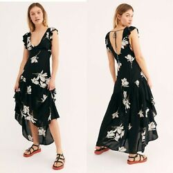 New Free People She's A Waterfall Maxi Dress $128 BLACK  Size 8