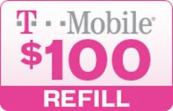 T-Mobile $100 Prepaid Refill Card Air Time Top-UpPin RECHARGE Funds Reload