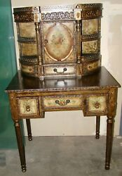 Victorian Trading Co Rossetti Hand Painted Floral Desk PICK UP ONLY $1,400.00