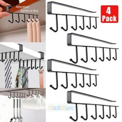6Hook Under Shelf Coffee Cup Mug Holder Hanger Storage Rack Cabinet Hook Kitchen $10.93