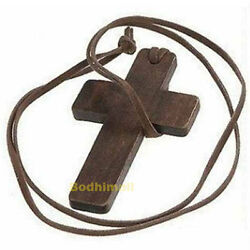 Leather Brown Wooden Cross Pendant String Rope Necklace $6.98