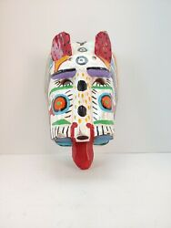 VINTAGE MEXICAN? FOLK ART WOODEN MASK CAT TIGER OR LION HAND PAINTED antique