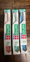 3 Vintage Butler Gum Toothbrushes In Box Ultra Soft Retro Dental compact Head