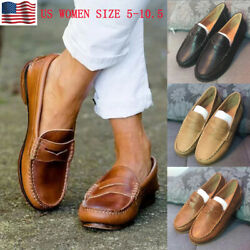 WOMEN FLAT LEATHER MOCCASINS SHOES LOAFERS SLIP-ON COMFY CASUAL SHOES PUMPS SIZE