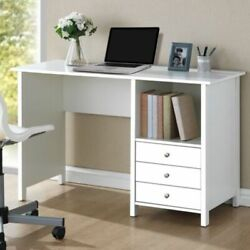 White Techni Mobili Contemporary Home Office Dorm Study Desk with 3 Drawers NEW $158.47