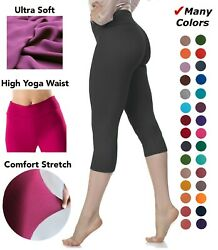 Extra Soft Capri Leggings with High Wast - 20 + Colors - One Size and Plus Size $9.99