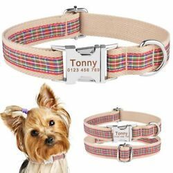 Plaid Dog Collar Personalized Engraved Name Tags Small Medium Large Girl Boy Pet $8.90