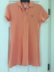 Lacoste Orange Tangerine Polo Logo Dress Stretch Cotton Golf Kids Size 16