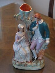 Antique English Staffordshire Pottery LOVERS Spill Vase Statue Figurine c.1850
