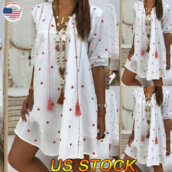 Women Star Casual Shirt Tunic Dress Summer Loose Beach Sundress Girl V-neck Tops