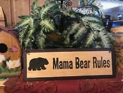BLACK MAMA BEAR RULES wood Sign mamma country kitchen lodge cabin home decor $8.99