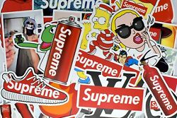 50 Supreme Stickers Hypebeast Stickers for Laptop Luggage Guitar Skateboard