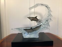 New in Box $6630 Robert Wyland OCEAN WAVE Large Lighted Lucite Dolphin Sculpture