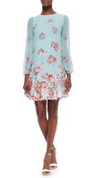 NWT Blue BCBG Bailee Floral Print Dropped Waist Dress