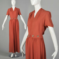 Small 1940s Rayon Dress in Pink Vintage Gown VTG 40s Maxi Summer Rayon Crepe $178.50