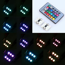 2x 31mm Festoon RGB 6 LED SMD Changing Car Reading Interior Roof Light + Remote