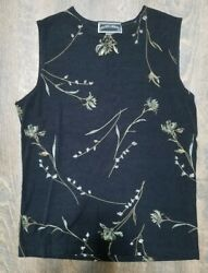 NWOT! Frazier Lawrence Womens Tank Top Black Floral Pattern Size Large Work