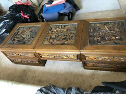 Vintage Hand-Carved Japanese Wooden Coffee Table and 2 matching accent tables.