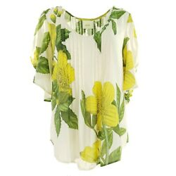 New Anthropologie MaEve Maya Flutter Floral Sleeve Floral Blouse 6 Ivory Yellow $39.99
