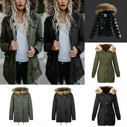Women's Faux Fur Collar Winter Jacket Trench Parka Hoodies Coat Outwear Warmer