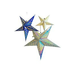 Paper Star Lantern Decorations with LED Lights Set of 3 24 in 18 in 12 in. $10.99