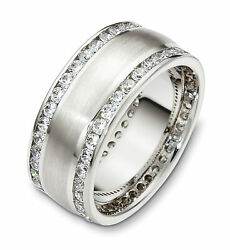 10K White Gold Double Channel 8.5MM Wedding Band 1 58 cttw sz 4-14
