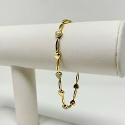 18k Yellow Gold Fancy Heart Link Chain Bracelet Italy 7.5 Inches