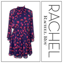 Rachel Rachel Roy Womens Navy With Pink Floral Smocked Neck Dress Size Small
