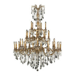 SALE Windsor 45 Light French Gold Clear Crystal Chandelier 54x66 4 Tier Large