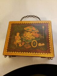 Vintage Wooden Box Bag Purse With Two Different K Chin Signed Artwork Scenes