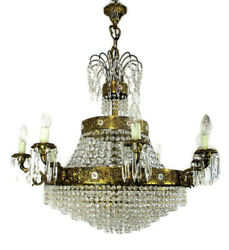 Huge Ballroom Wedding Chandelier Beaded Basket Crystal Prisms 17 Lights Limoges
