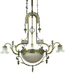 Huge Art Nouveau Gas Chandelier Ballroom Revival  Shade Working WOW Electrified