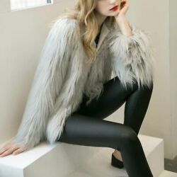 Fashion Women Winter Warm Fluffy Faux Fur Long Sleeves Jacket Party Outwear Coat