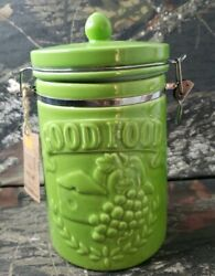Rustic Living Hinged Canister Jar Avocado Green Good Food Storage Jar Kitchen H3 $14.39
