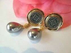 Signed GIVENCHY  Logo & Faux Grey Pearl Drop Stud Earrings