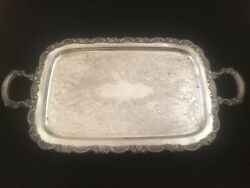 Antique Large Ornate Oneida Silver Plate Footed Serving Butler Tray 24