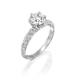 14K white gold Solitaire engagement lab grown diamond Ring 0.84 ct E VS2 Certif
