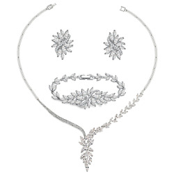 UMODE Bridal Wedding Jewelry Set 18K White Gold Plated Brass Marquise Cut Cubic
