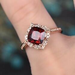 3ct Cushion Cut Red Garnet Vintage Solitaire Engagement Ring 14k Rose Gold Over $107.99