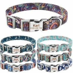 Personalized Dog Collar Nylon Free Engraved ID Name on Buckle Puppy Small Medium $9.69