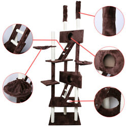 110quot; Cat Tree Condo Furniture Scratch Post Pet Play House Home Gym Tower Brown $85.99