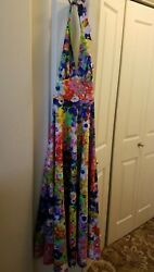 Vintage 70s Womens Halter Sleevess Maxi Long Dress Size S Multi Colors Florals