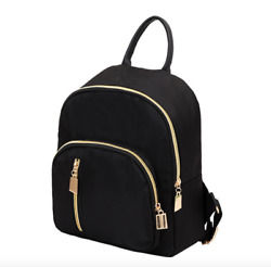 New Fashion Women Small Mini Backpack Travel Nylon Handbag Shoulder Bag Black $10.09
